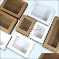 Wrap Event Festive Party Supplies Home & Garden100Pcs Kraft Packaging With Window White Packing Gift Box Paper Wedding Favor Delicate Der Bo