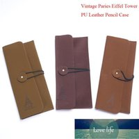 Creative Vintage Elegant Paries Eiffel Tower PU Leather Pen Bag   Pencil Case Office Stationery,school Supplies Bags Factory price expert design Quality Latest Style