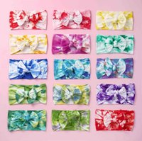 Kids Girls Bow Tie Dye Headbands Printed Baby Bowknot Hairbands Soft Nylon Elastic Baby Hair Wrap Wide Band Headbands Hair Accessories LY6801