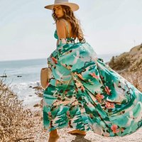 Womens Maillots de bain Fitchling Imprimer Floral Long Cardigan Boho Flare Sleeve Sashes Summer Beach Cover Holiday Holiday