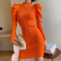Kleider Casual Yu Jie Style Bubble Hülse gestricktes Bottoming-Kleid für Frauen im Herbst und im Winter