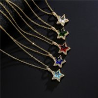 18K Real Gold Plated Colorful Micro CZ Pave Star Pendant Necklaces Diamond Pentagram Necklaces for Girl Women