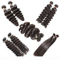Meilleur 10a Vierge cru Vierge Human Hair Weave Brésilien Péruvien Indian Malaisien Cheveux De Cheveux De Corps Straight lâche Onde d'eau bouclée profonde humide et ondulée