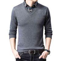 Browon Mens трикотаж Осенняя мода Slim S поддельный двухсекционный свитер свитер рубашка воротник одежда плюс размер M-XXXL