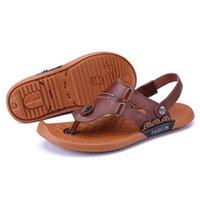 Sandals Leather De Hollow Sommer Sandalsslippers Flip Sandalias Sandles For Slides Transpirables 2021 Homme Sandalia Slapi Casual Shoes