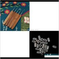 Sprays 5 pcs ganchos de crochet agulhas de trança de trança 0dot5mm + 24 pcs tubo Tubo Dreadlock Braiding Jóias Beard Beard Decor Acessórios RR3SR IPFLU