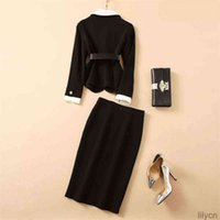 Two Piece Dress European and American women's wear winter style Long sleeved single - breasted belt jacket skirts Fashion black suit