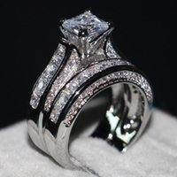 Cluster Rings Trendy Luxury Silver Color Set Wedding Ring Band For Bridal Girls And Women Ladys Love Couple Pair Jewelry Dropship