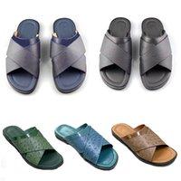 2021 Diapositives de concepteur Sandal Hommes Foch Mules Ostrich Cuir Sliper Beach Casual Non-Slip Black Brown Summer Mode Flip Tongs avec boîte N °282