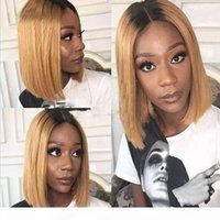 Полное кружевное человеческие парики для волос для женщин ommre T1B 27 REMY волосы 130 ледящие шелковистые прямые короткие боба кружева передние волосы волос