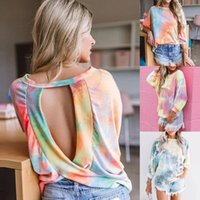 Womens Fashion Sexy Tie Dye Print Tops Blouses Shirts O Neck Long Sleeves Backless Blouse Tops
