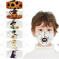 Halloween Printed children's cotton cloth masks student dust and haze mask can be washed PM2.5 HWd9827