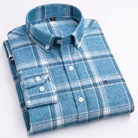 Chemise à carreaux à carreaux de coton brossé pour hommes Pochette à manches longues à manches longues de poche à manches longues Standard-Fit T-shirts de flanelle gingham