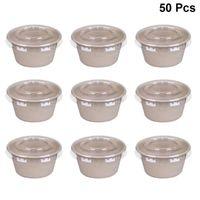 Наборы посуды 50 шт. 2 унции одноразовые Condiment Cups разлагаемая бумага салат из вынесения коробки экологически чистые собачьи коробки (с крышкой)
