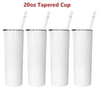 20oz Sublimación taza recta flaca tumblers en blanco en blanco de acero inoxidable blanco al vacío aislado cónico delgado DIY 20 oz taza de café tazas