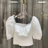polos Women's fashion temperament versatile square neck bubble sleeve top