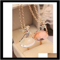 Доставка драгоценности кулонов Доставка ювелирных изделий 2021 бриллиант свадебные кулон Ожерелья Элегантная балерина Балетная девочка Ожерелье Ожерелье партия королева PS0743 L