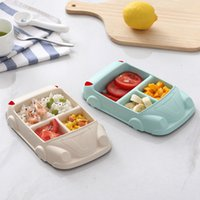 5pcs lot Cartoon Cute Square Car Train Airplane Baby Feeding Set Fruit Dish Thick Plate Dinnerware Table Dishes for Kids 1922 V2
