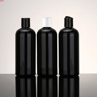 12pcs lot 400ml black round empty PET cosmetic plastic bottles with disc cap lotion cream container bottlehigh qty