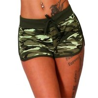 Yoga Outfit Sport Shorts Women Camouflage Print Slim Drawstring Elastic Waist Running Outdoor For