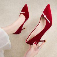 Bahar İnci Süet Kadın Stilettos Pompaları Seksi Düğün Ayakkabı kadın Sivri Burun 6 cm Yüksek Topuklu AB 34-39 Şarap Kırmızı Elbise