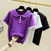Women's T-Shirt Women's low-necked shirt, knitted or crocheted 2021, short sleeve, summer, t-shirts, woman, Korean fashion, clothes, women's OZ55