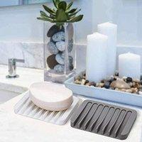 Soap Dishes Silicone Shelf Draining Bar Holder Saver Sponge Tray Drainer For Bathroom Shower Kitchen