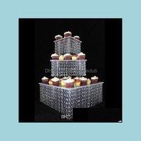 耐熱機キッチン、ダイニングバーホームホームガーデン3ティアクリスタルケーキスクエアアクリルカップケーキスタンドクリスマス結婚記念日誕生日サプライCRA