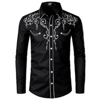 Men's Casual Shirts 2021 Tylish Western Cowboy Shirt Men Brand Design Embroidery Slim Fit Long Sleeve Mens Wedding Party Male