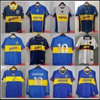 1981 1997 Top Boca Juniors Retro manica lunga da calcio maglia da calcio Maradona Roman Riquelme Cangia Palermo Maniche corte Camicia da calcio classica