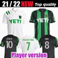 Versão do jogador Austin FC Camisas de futebol Inaugural 21 22 Home Black Away Branco Dario Conca Kleber Xavier Baez Personalizar camisas de futebol
