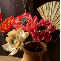 Decorative Flowers & Wreaths Water Lilies Handmade Plants Zen Dried Home Decoration Design Artificial Lotus Farmhouse Decor Pography Props