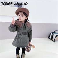 Winter Korean Style Baby Girls Coat Lamb Thick Wool Cotton Jackets with Elastic Sashes Fashion Outwear Clothes E2040 210610