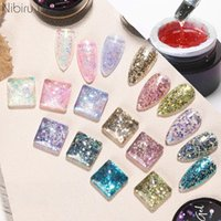 Nail Gel Multi-Color Reflective Glitter Polish 8ml Shiny Top Base Coat For Semi Permanent Art Design Supplies