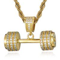 Pendant Necklaces Fashion Hand Pendants For Men Jewelry Hip Hop Iced Out Bling Rhinestone Rope Chain Barbell Gym Fitness Dumbbell Gold