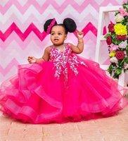 Kızın Elbiseleri Fuschia Aline Toddler Çiçek Kız Sheer Boyun Aplikler Prenses Cemaat Doğum Günü Pageant Robe de Demoiselle