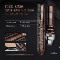DOM Watchband Genuine Leather Straps Cowhide strap watch strap Butterfly Buckle Watch Accessories Belt 18mm 20mm 22mm 24mm