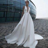 Robes de mariée sans dos Sexy Ve De Depess Robes De Mariage A-Line Robes Classiques Simple Élégant Drapé 2021 Dernière Design De Prestige Mariée Custom sur mesure haut de gamme