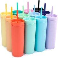 The Gumblers de 16 onces Double Plastique Tube Tube Droite Café de lait avec Paille Mat Candy Couleur Slim Voyage Portable Tasse d'eau