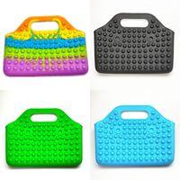 Big Size Rainbow Children's Push Handbag Fidget Toys Tie Dye Pioneer Large Size Poppers Bubbles Hand Bags Girls Makeup Pack 4294 Q2