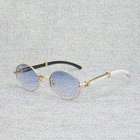 Vintage weiße schwarze Büffelhorn-Horn-Sonnenbrille-Männer Runde Natura-hölzerne Eyewear für was Outdoor-klare Gläser-Rahmen-Oculos-Tönen