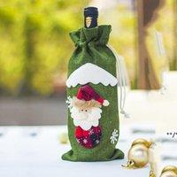 Jute Vin Décorations Noël Champagne Bouteille Couvertures Sac Dîner Sacs à cordon de Noël Décoration de Noël Ornements Santa Claus HHE8534