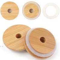 70mm 86mm Friendly Mason Lids Reusable Bamboo Caps Tops with Straw Hole and Silicone Seal for Masons Canning Drinking Jars Top 10pcs