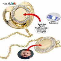 Personalize a sublimation Blanks Bling chupeta com clipe colar de cristais Favor Favor para Baby Keepsake Brithday presentes