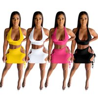Women Two Piece Dress Sleeveless T-shirts+Skirt Summer Halter Back Less Jogging Suit Solid Color Outfits Stretchy Crop Top Sportswear Running Clothing 4975