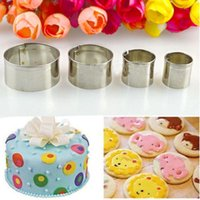 4pcs Set Stainless Steel Round Circle Cookie Fondant Cake Gum Paste Mould Cutter DIY Decorating Pastry Mold Baking Tools &