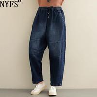 NYFS 2020 Neue Herbst Frauen Jeans Vintage Lose Harem Hosen Große Größe Elastische Taille Denim Lange Hose1