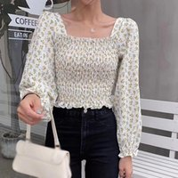 Women Floral Print Square Collor Shirt Tops Casual Chiffon Blouse Autumn Fashion Long Sleeve Blouses Women's & Shirts