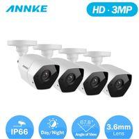 كاميرات Annke 3MP 1920 * 1536 HD-TVI Security Camera 4PCS كيت في الهواء الطلق المعادن مانعة لتسرب الماء 66ft 30m الرؤية الليلية سوبر