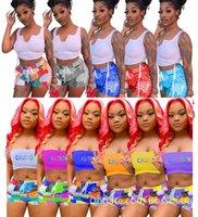 Женщины Scestsuits Sexy 2 Piece Набор повседневная спортивная наряд без рукавов танк топ + мини шорты летняя одежда Clubwear Print Jogger Suit 835